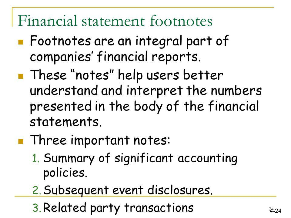 Financial statement footnotes