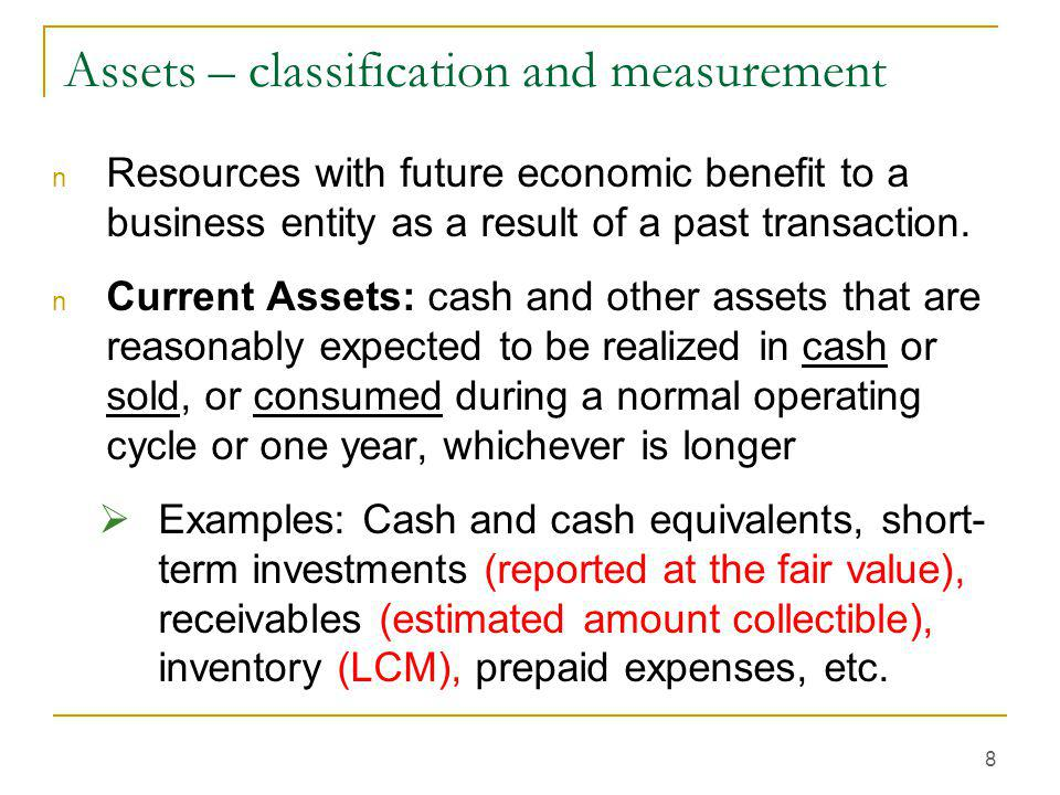 Assets – classification and measurement
