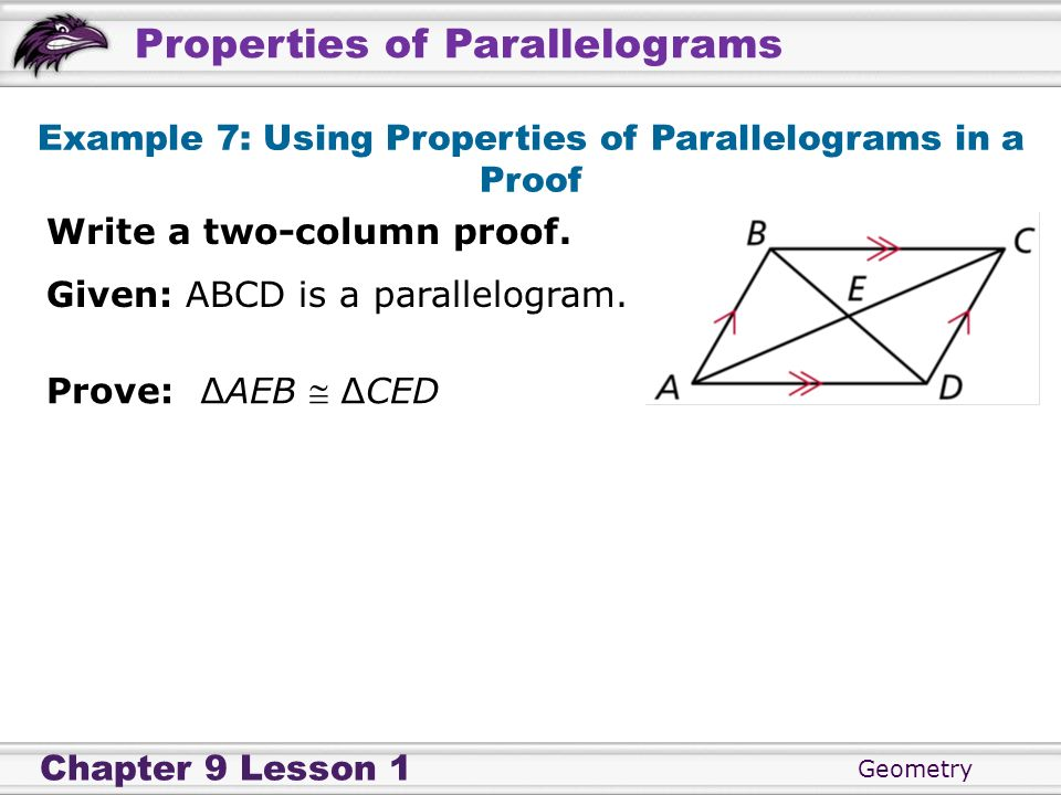 Example 7: Using Properties of Parallelograms in a Proof