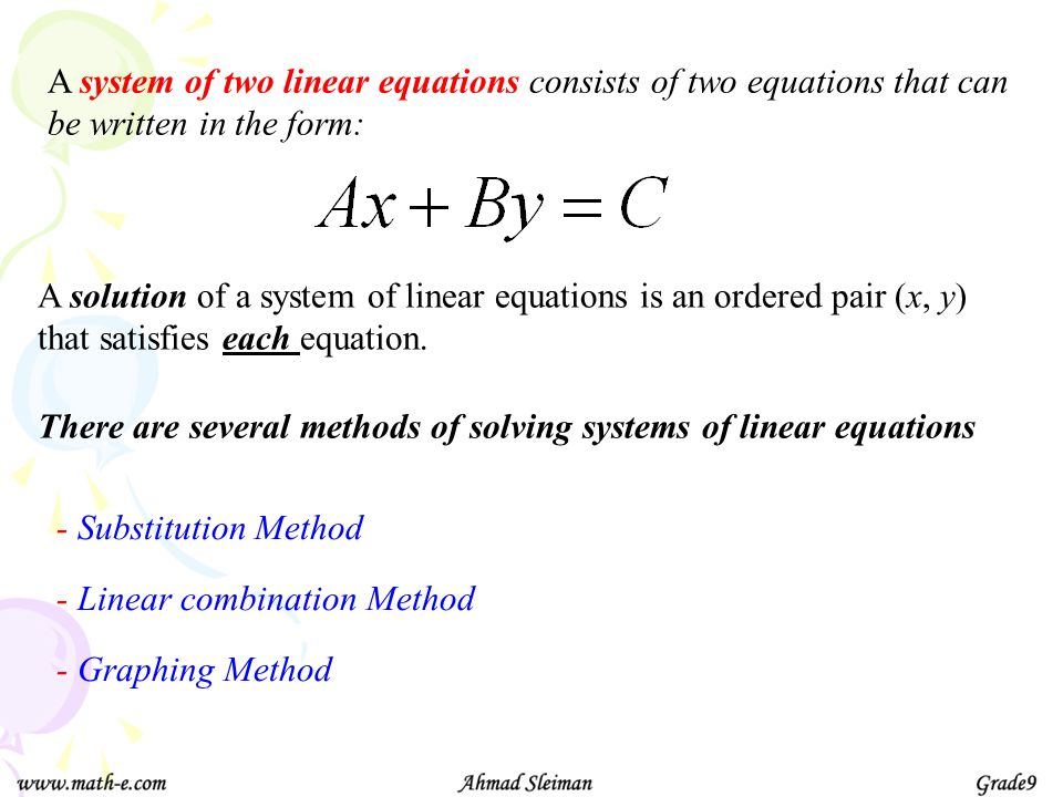 A system of two linear equations consists of two equations that can be written in the form: