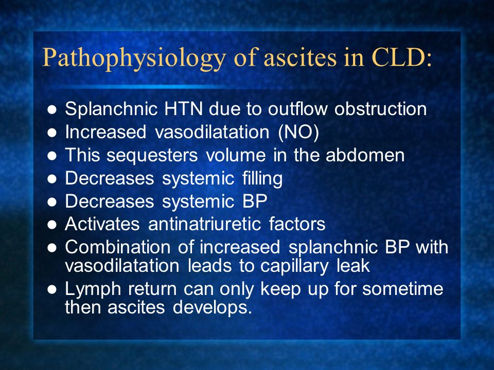 Pathophysiology of ascites in CLD: