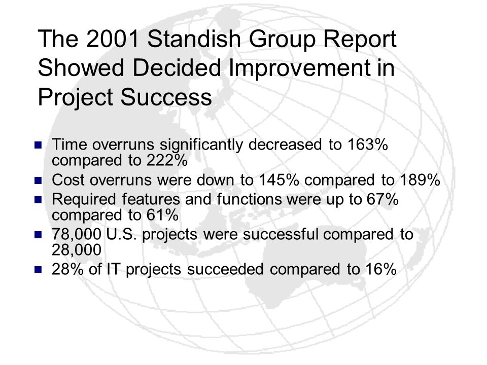 The 2001 Standish Group Report Showed Decided Improvement in Project Success