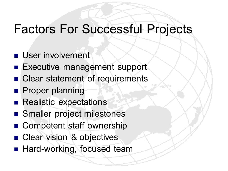 Factors For Successful Projects