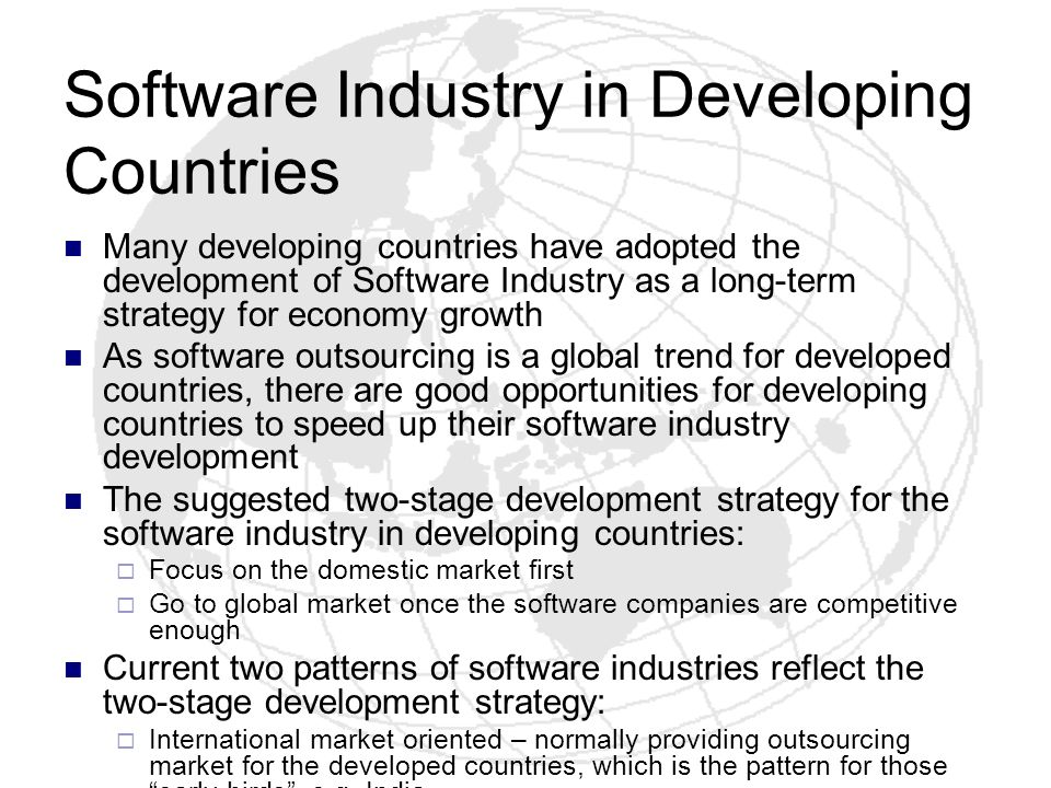 Software Industry in Developing Countries