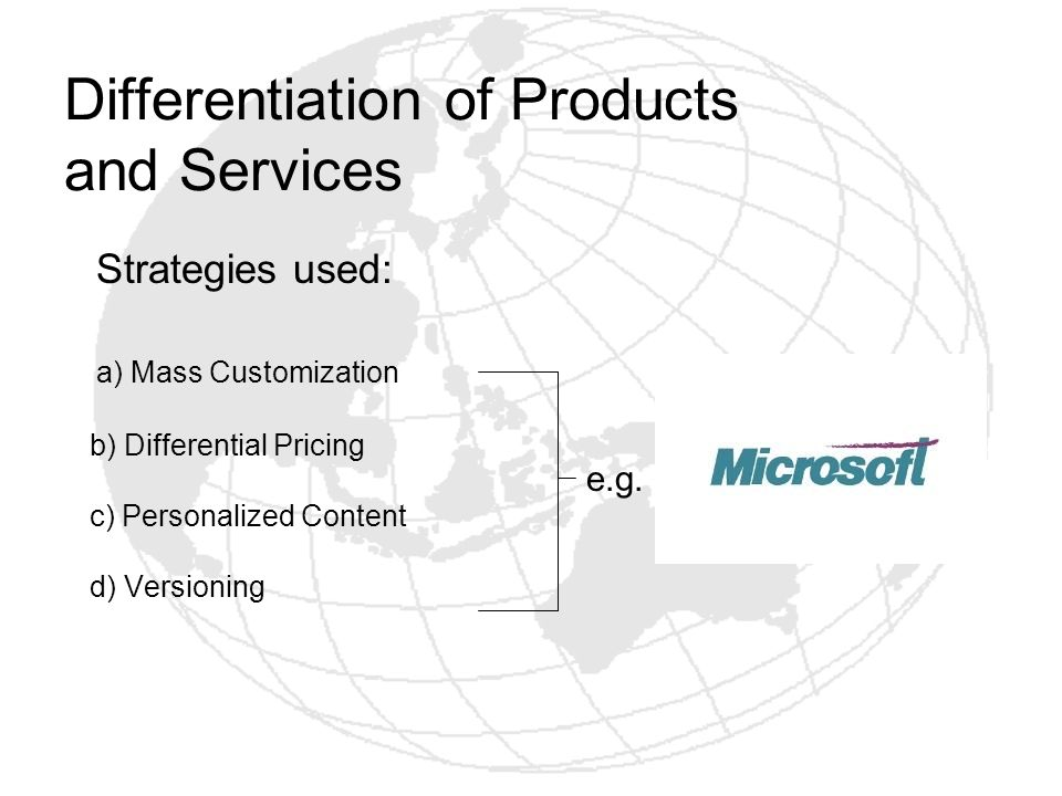 Differentiation of Products and Services