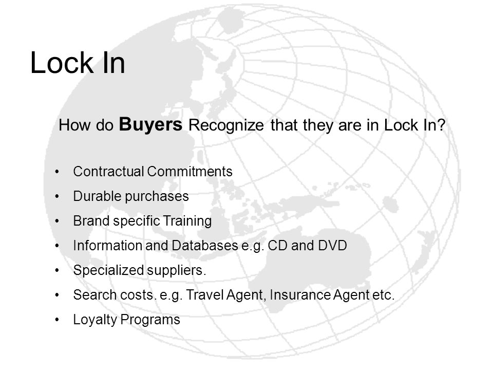 Lock In How do Buyers Recognize that they are in Lock In