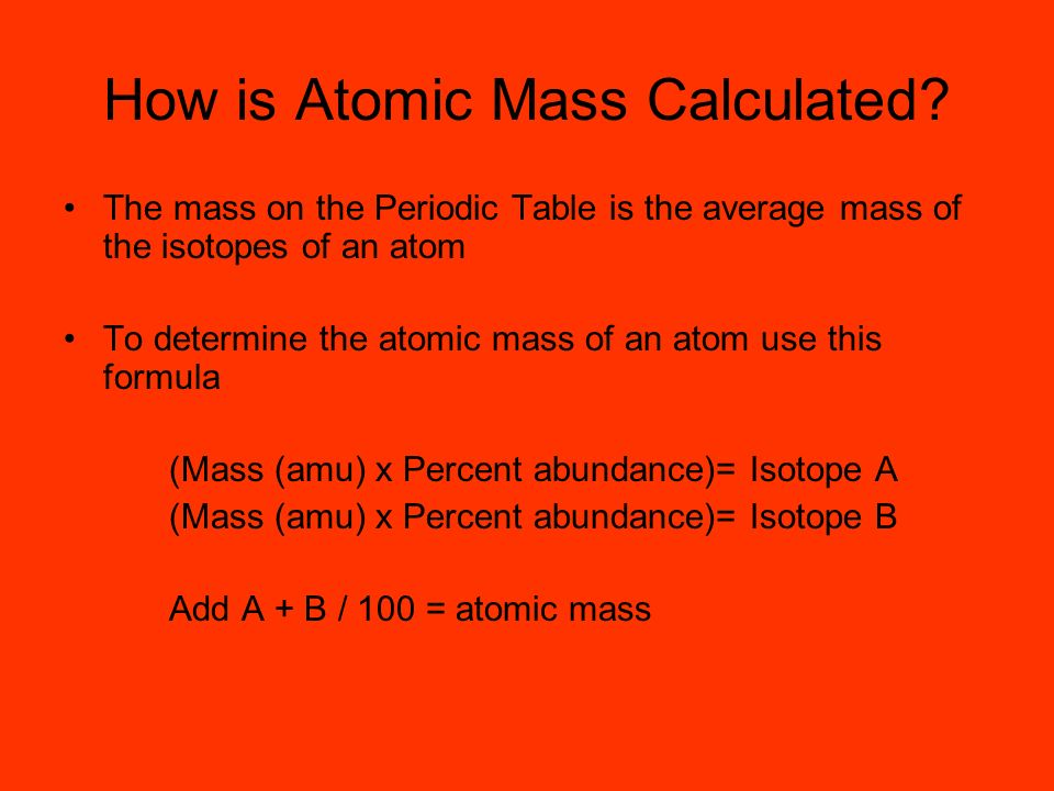 How is Atomic Mass Calculated
