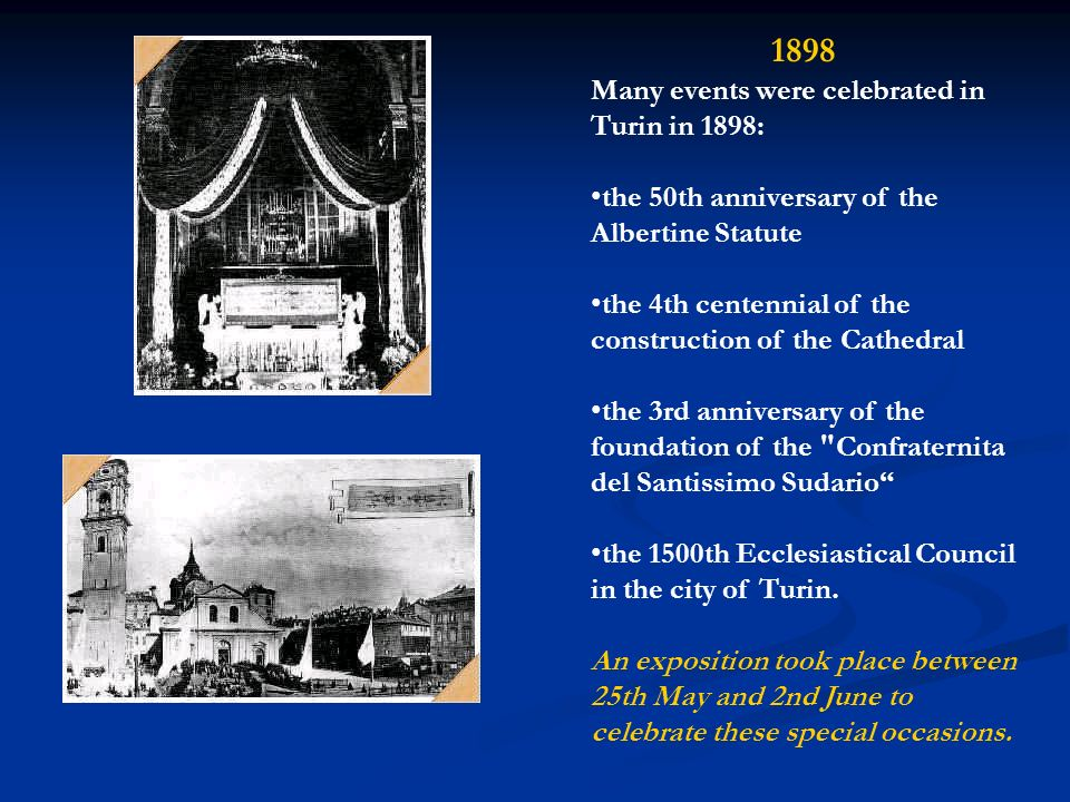 1898 Many events were celebrated in Turin in 1898:
