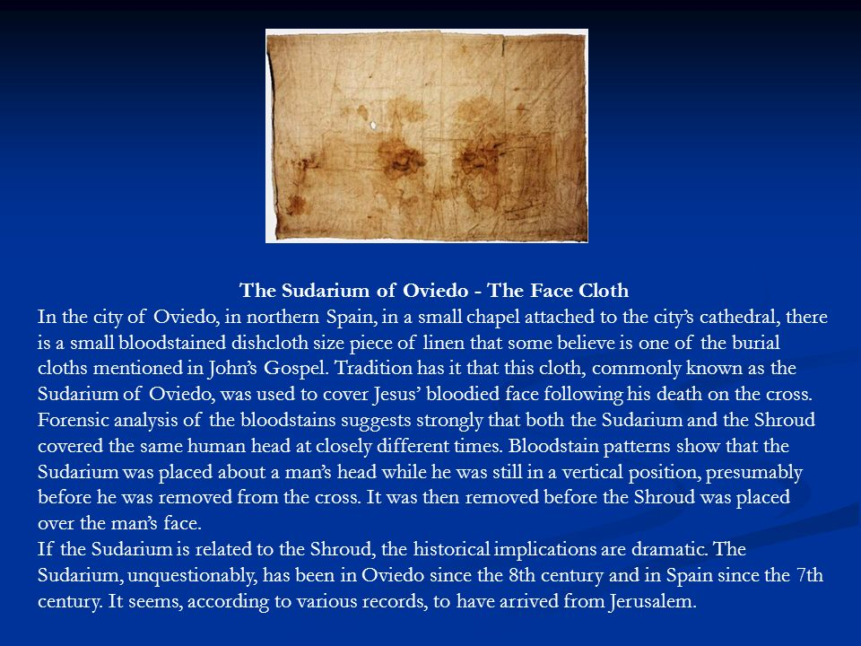 The Sudarium of Oviedo - The Face Cloth