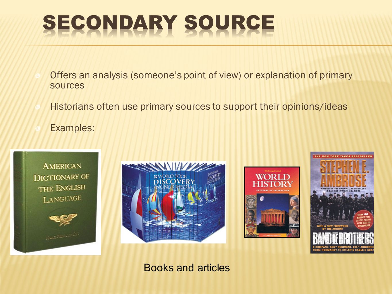 Secondary Source Books and articles