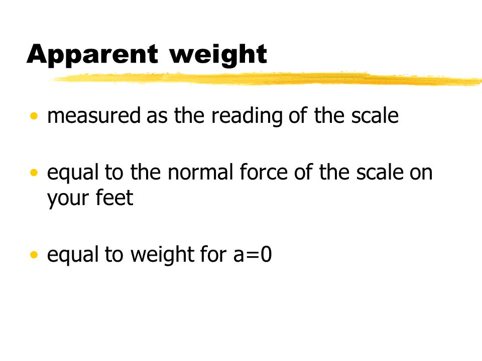 Apparent weight measured as the reading of the scale