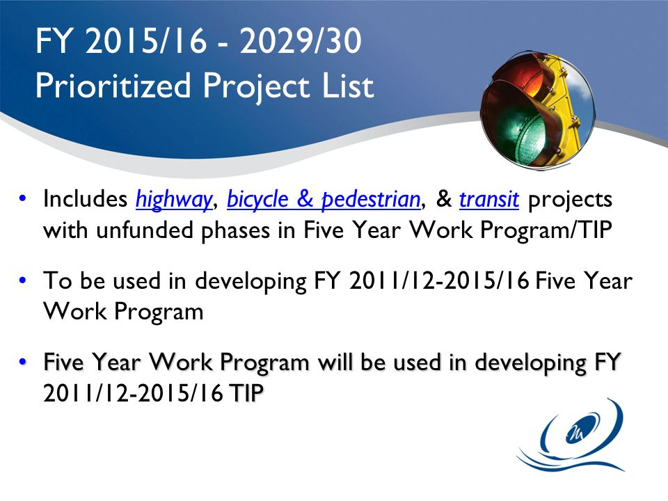 FY 2015/ /30 Prioritized Project List