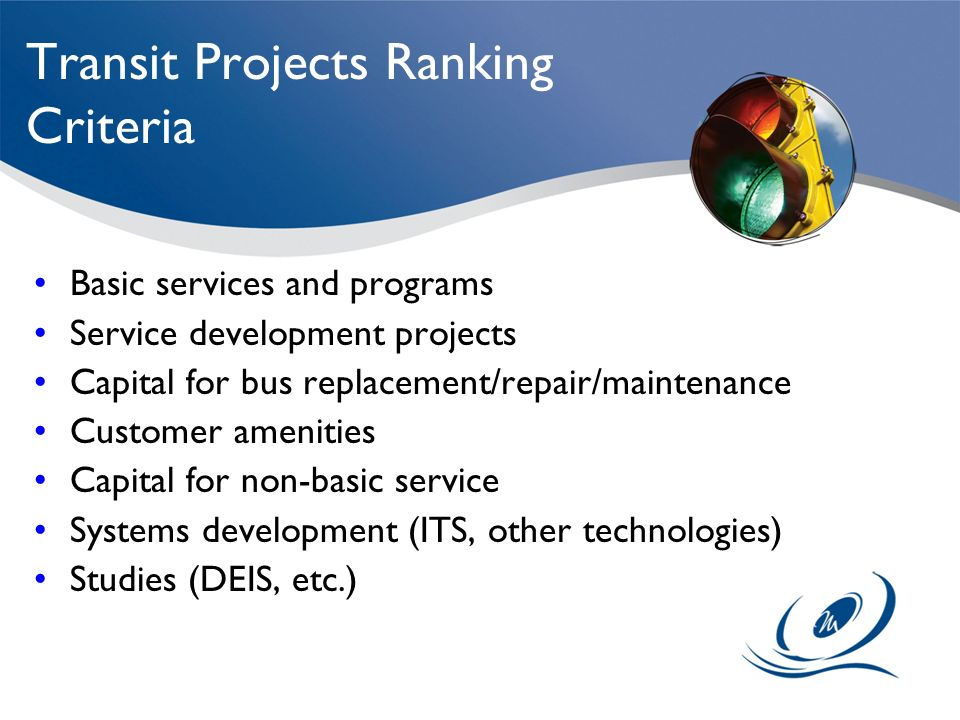 Transit Projects Ranking Criteria