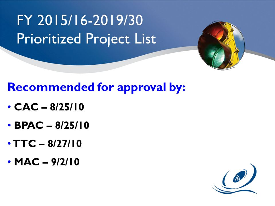 Prioritized Project List