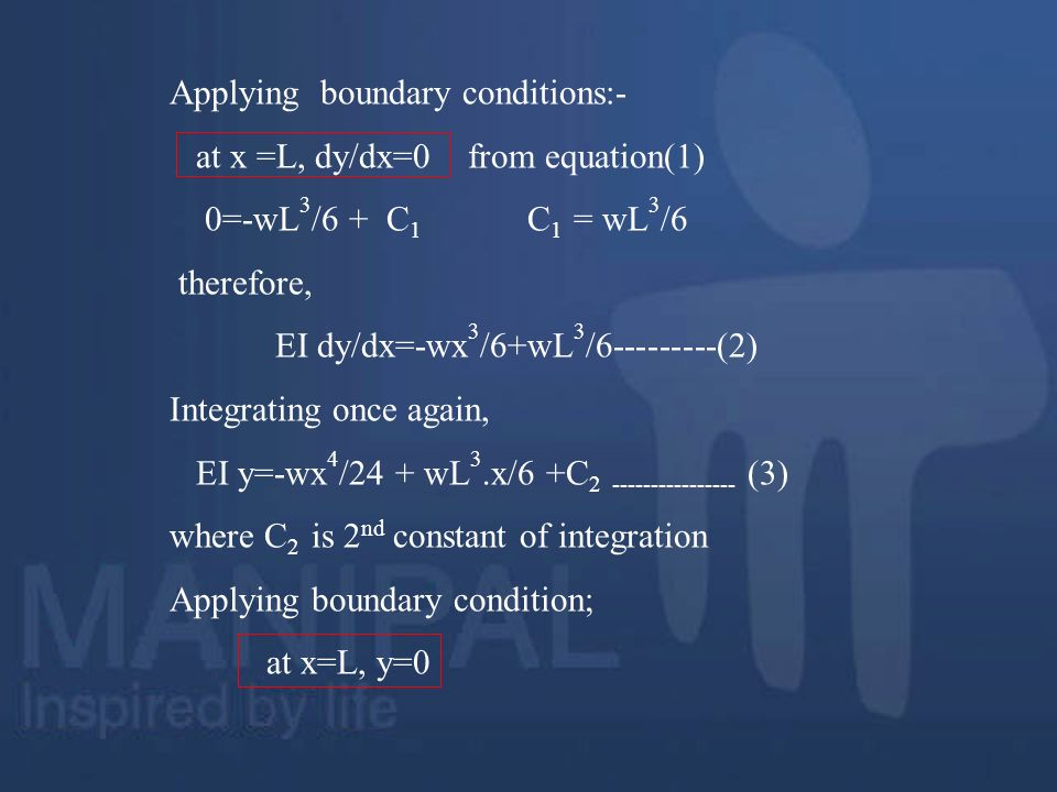 Applying boundary conditions:-