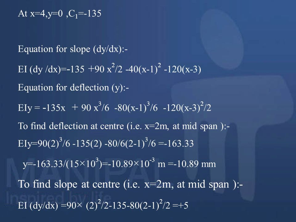 To find slope at centre (i.e. x=2m, at mid span ):-