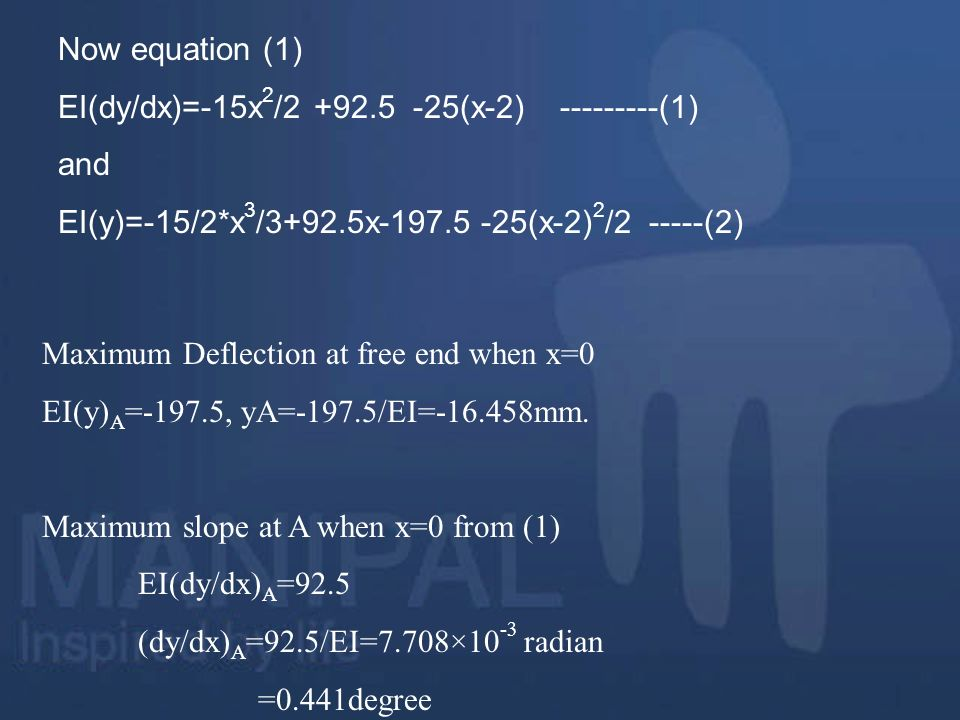 Now equation (1) EI(dy/dx)=-15x2/ (x-2) (1) and. EI(y)=-15/2*x3/3+92.5x (x-2)2/ (2)