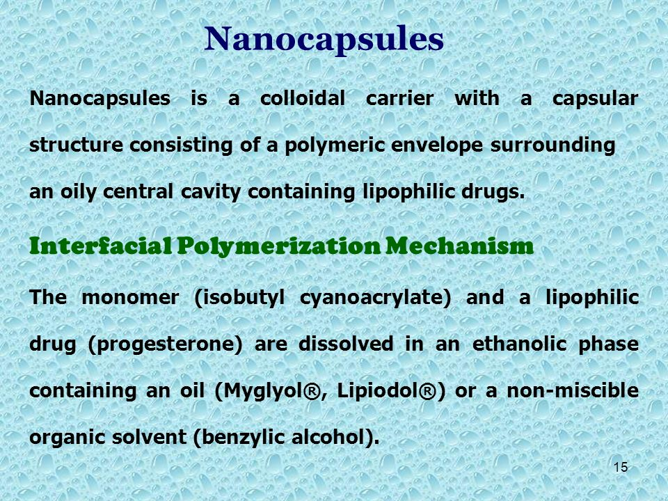 Nanocapsules Interfacial Polymerization Mechanism