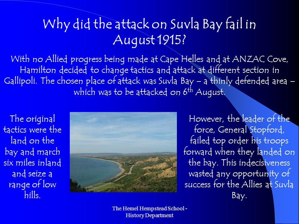 Why did the attack on Suvla Bay fail in August 1915