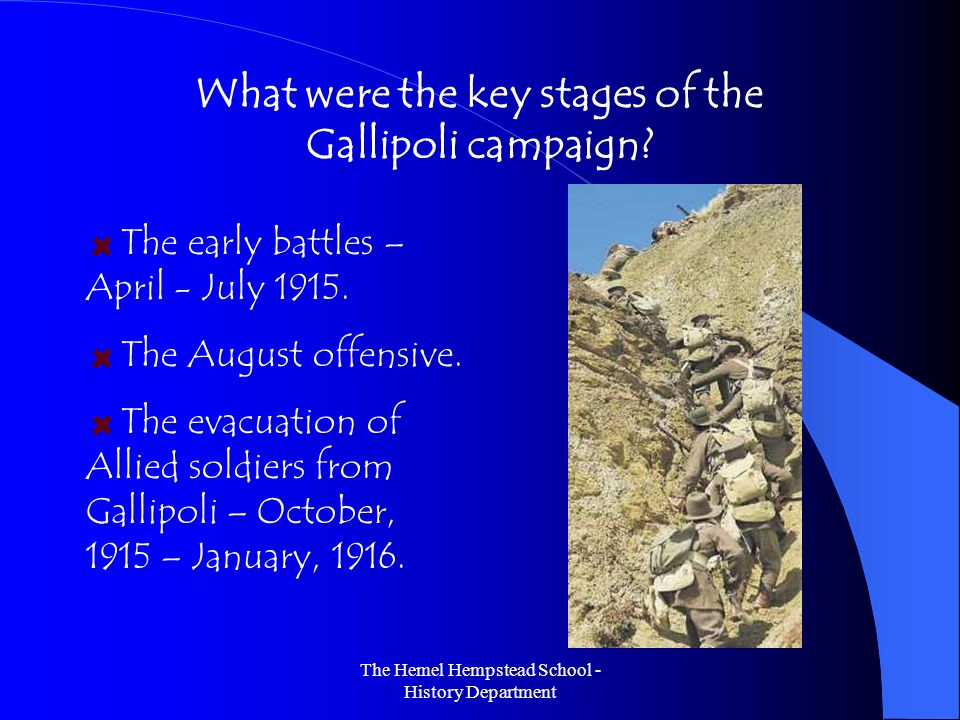 What were the key stages of the Gallipoli campaign