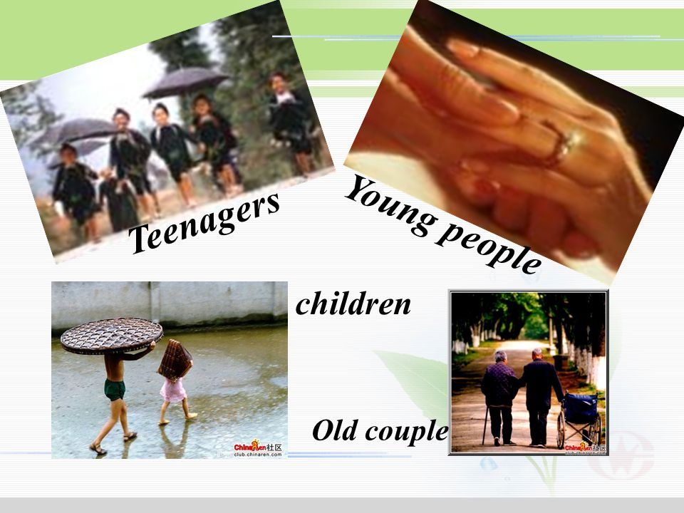 Teenagers Young people children Old couple Football players