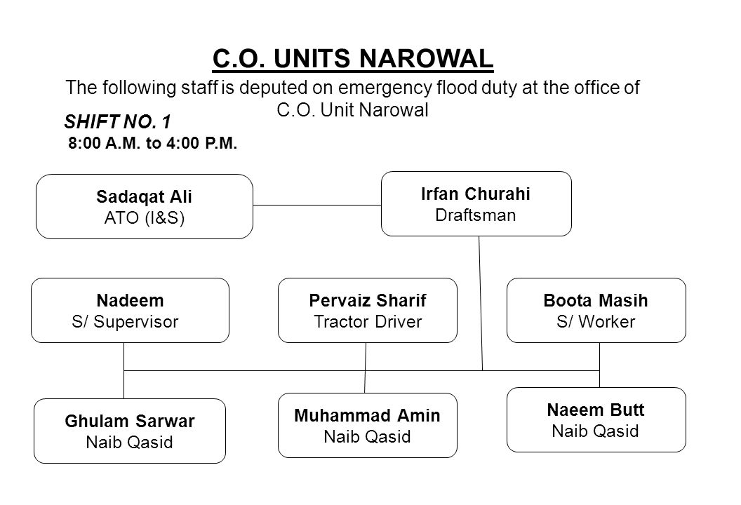 C.O. UNITS NAROWAL The following staff is deputed on emergency flood duty at the office of C.O. Unit Narowal