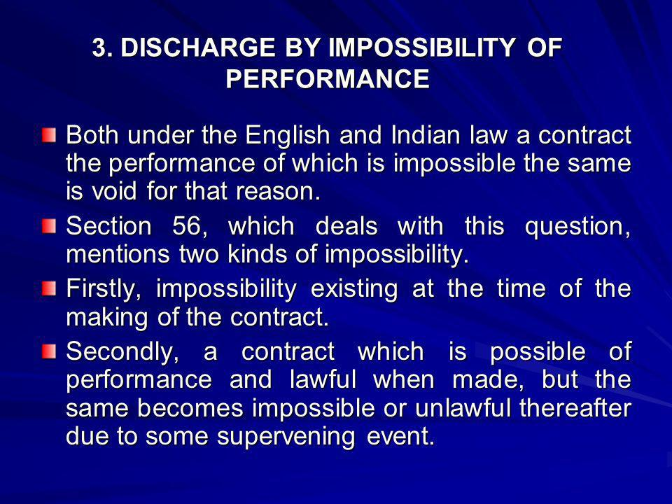 3. DISCHARGE BY IMPOSSIBILITY OF PERFORMANCE