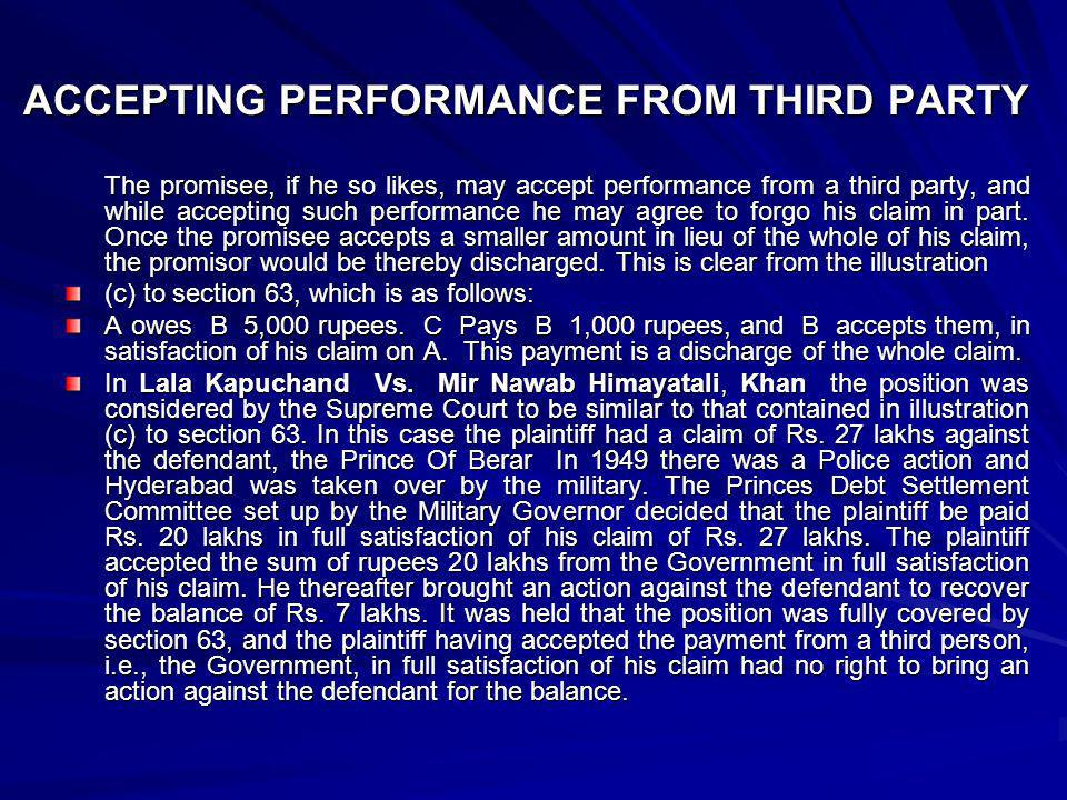 ACCEPTING PERFORMANCE FROM THIRD PARTY