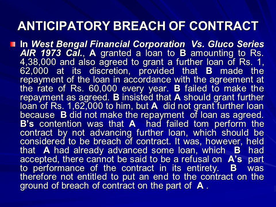 ANTICIPATORY BREACH OF CONTRACT
