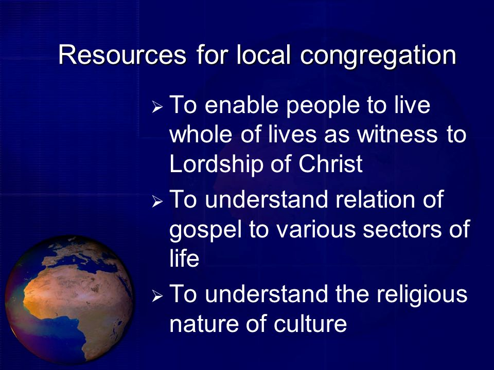 Resources for local congregation