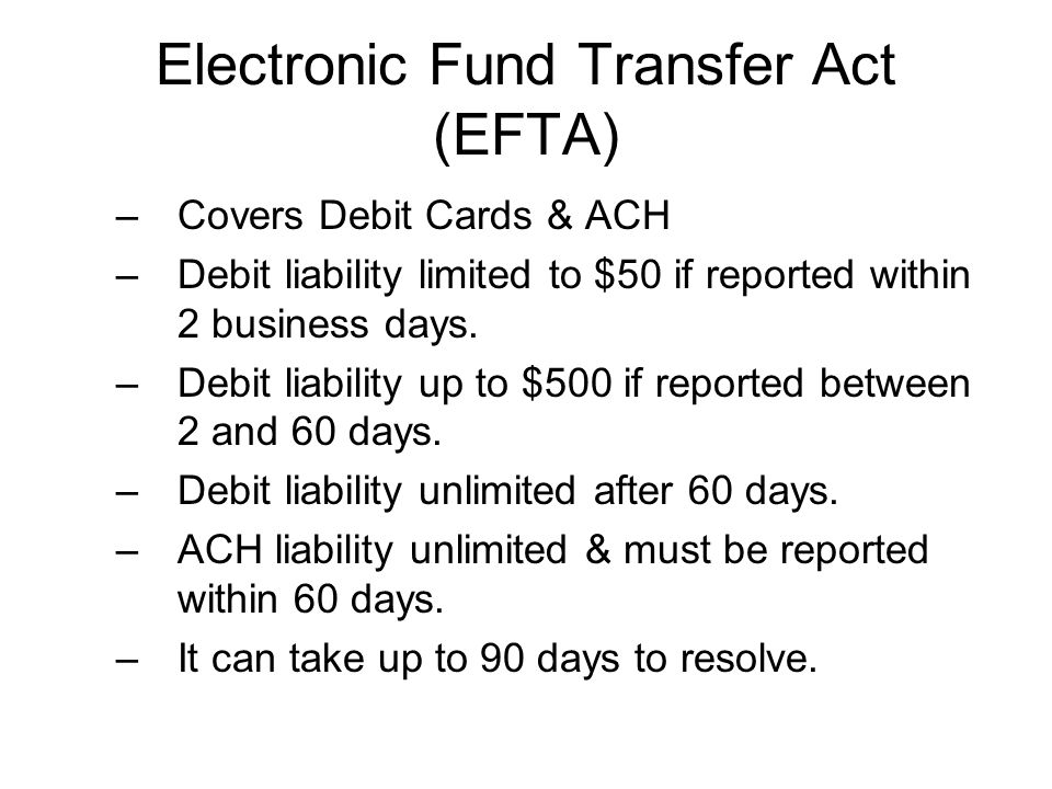 Electronic Fund Transfer Act (EFTA)