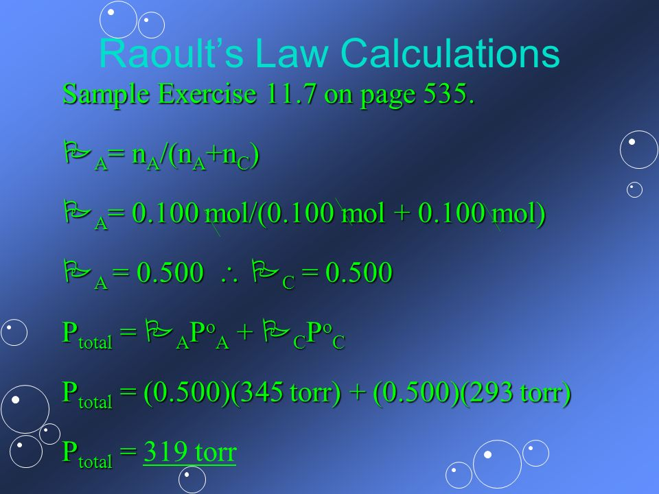 Raoult's Law Calculations