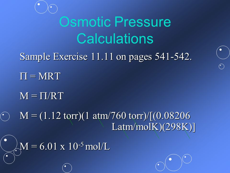 Osmotic Pressure Calculations
