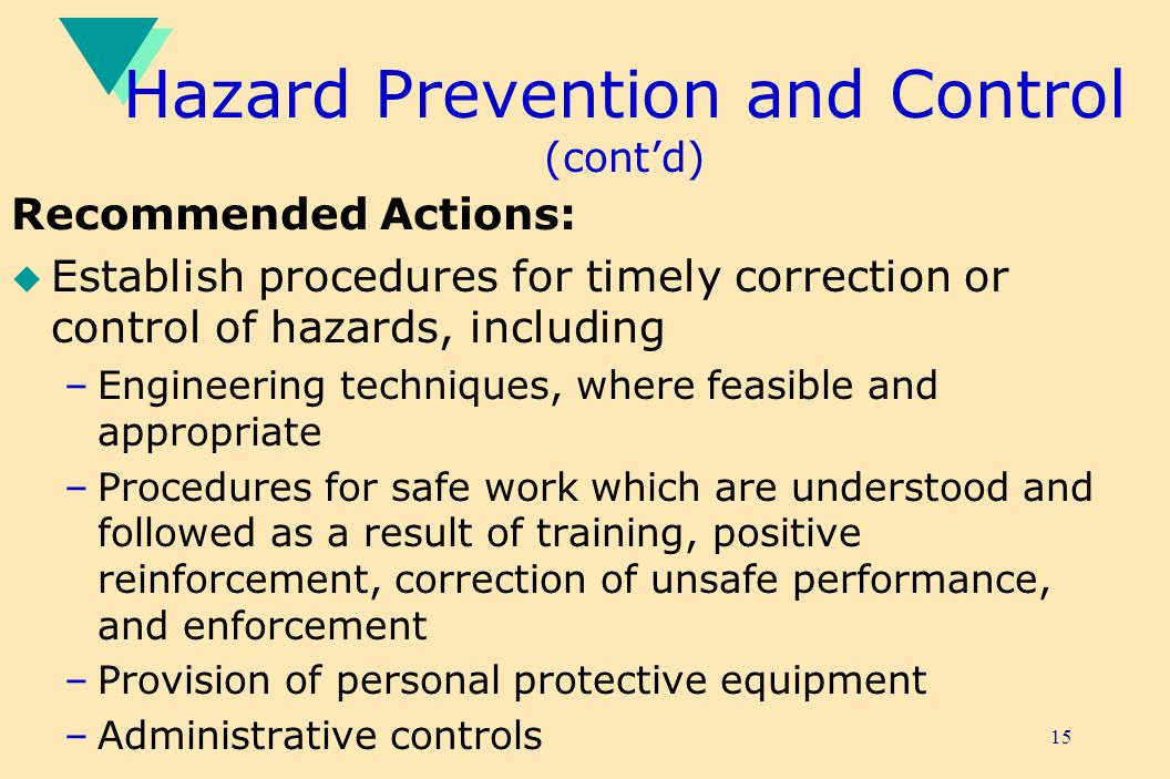 Hazard Prevention and Control (cont'd)