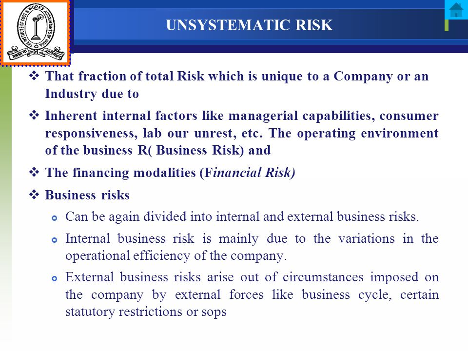 UNSYSTEMATIC RISK That fraction of total Risk which is unique to a Company or an Industry due to.