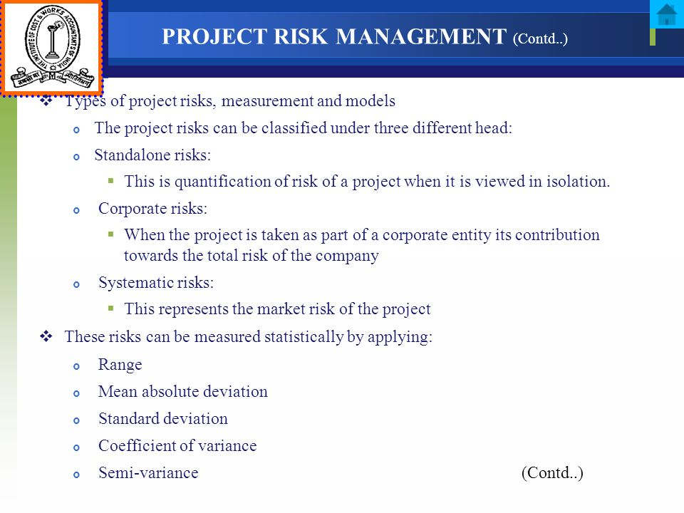 PROJECT RISK MANAGEMENT (Contd..)