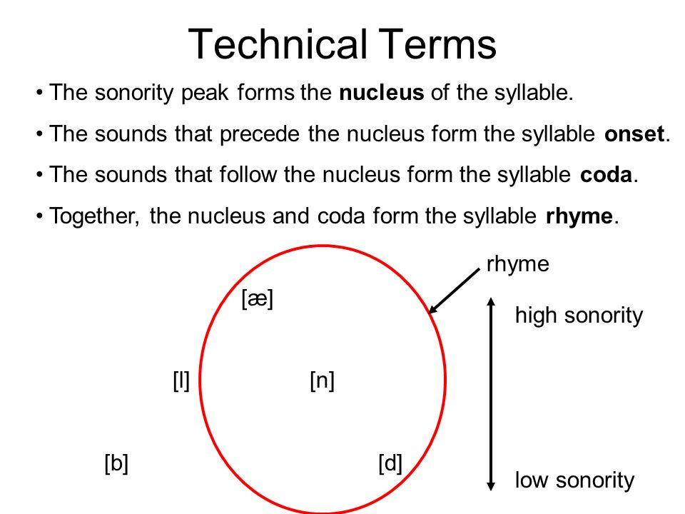 Technical Terms The sonority peak forms the nucleus of the syllable.