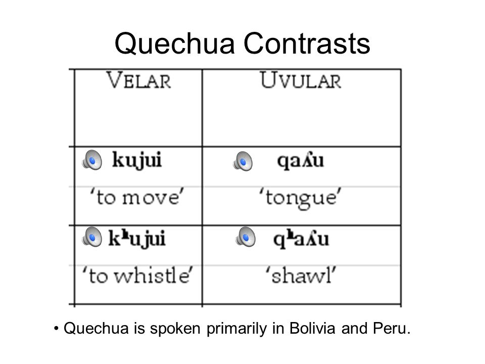 Quechua Contrasts Quechua is spoken primarily in Bolivia and Peru.