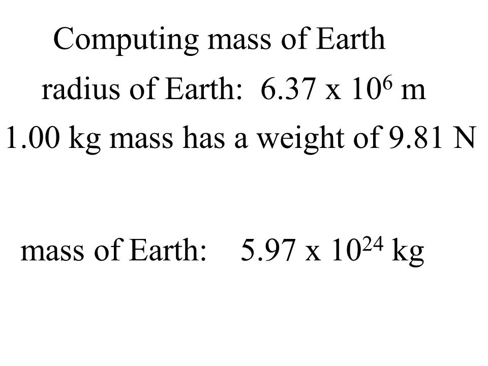 Computing mass of Earth