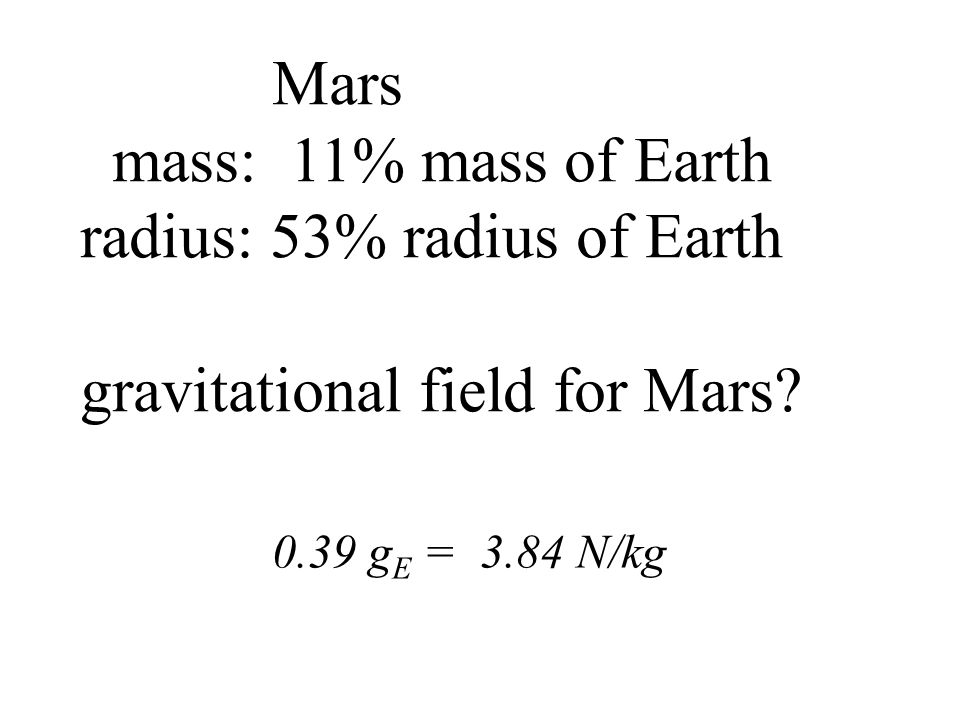 radius: 53% radius of Earth gravitational field for Mars