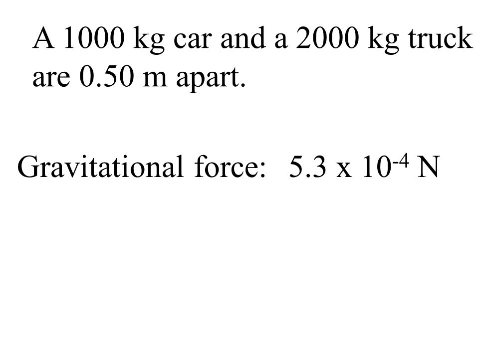 A 1000 kg car and a 2000 kg truck are 0.50 m apart. Gravitational force: 5.3 x 10-4 N