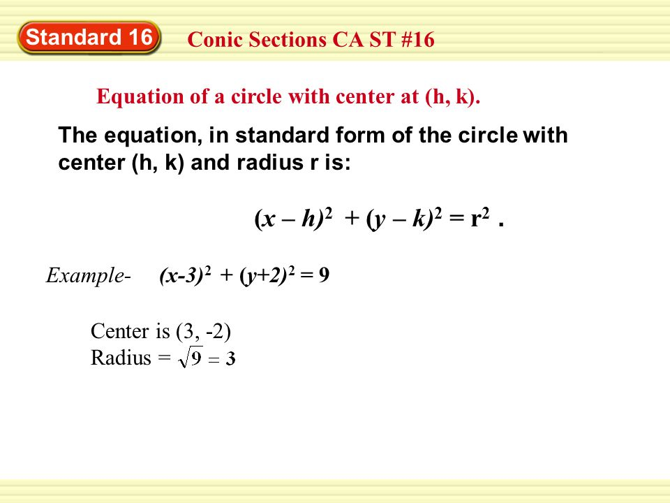 Standard 16 Conic Sections CA ST #16. Equation of a circle with center at (h, k). The equation, in standard form of the circle with.