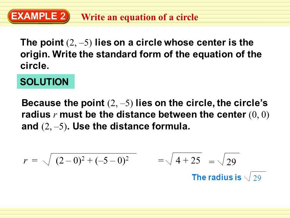 Write an equation of a circle
