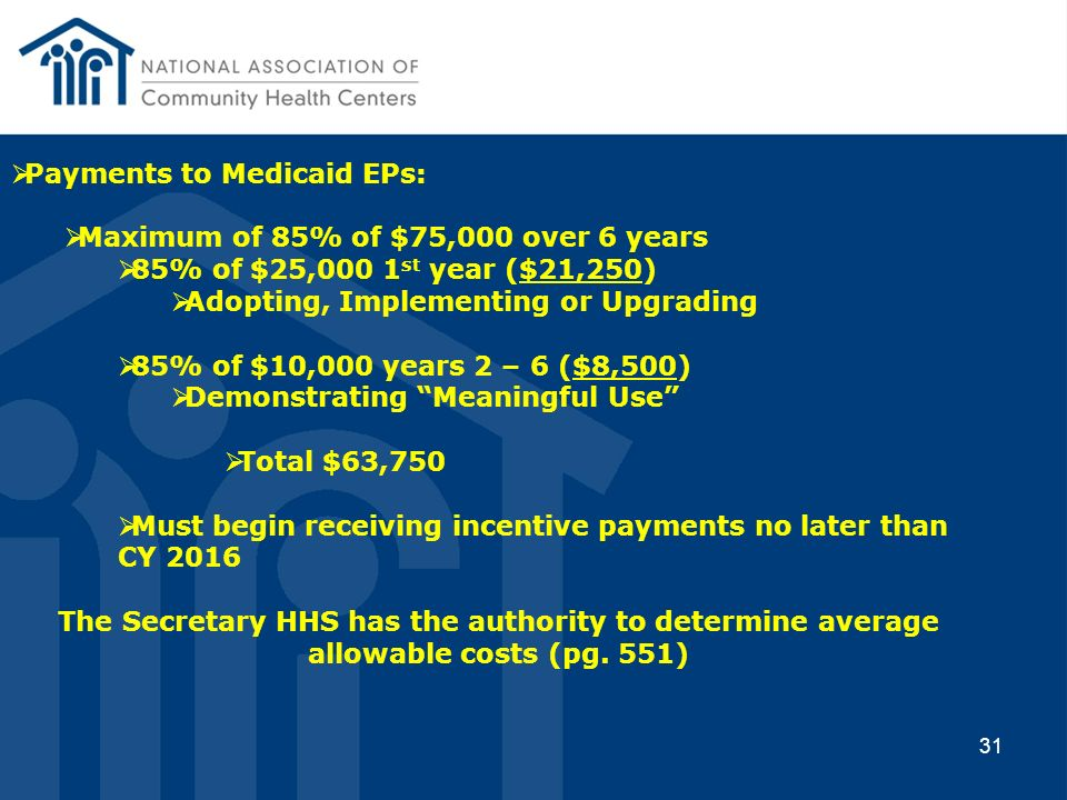 Payments to Medicaid EPs: