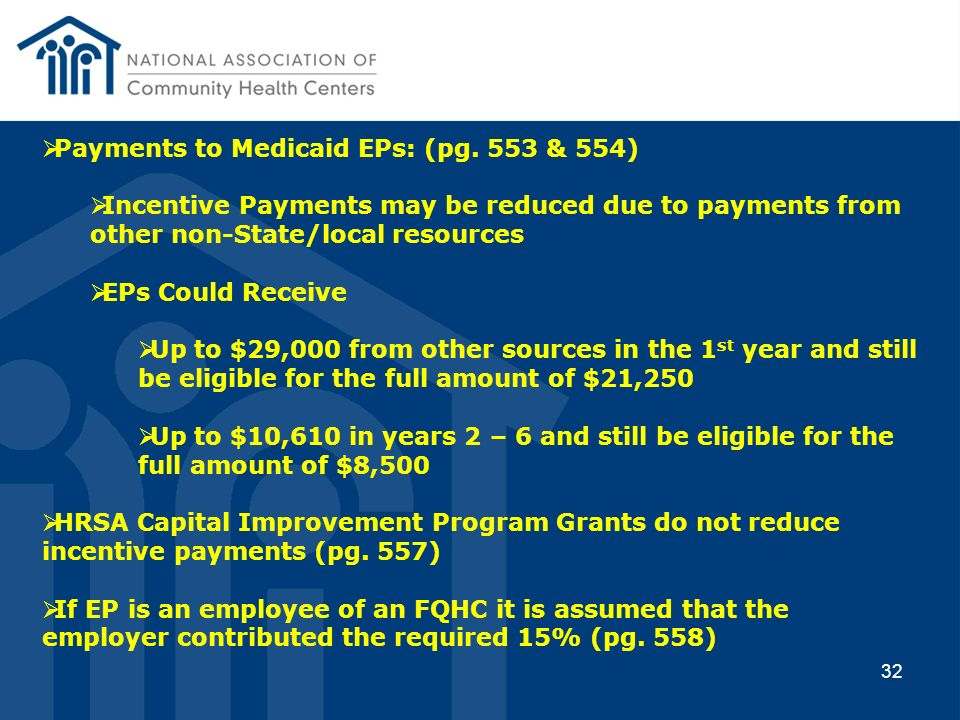 Payments to Medicaid EPs: (pg. 553 & 554)