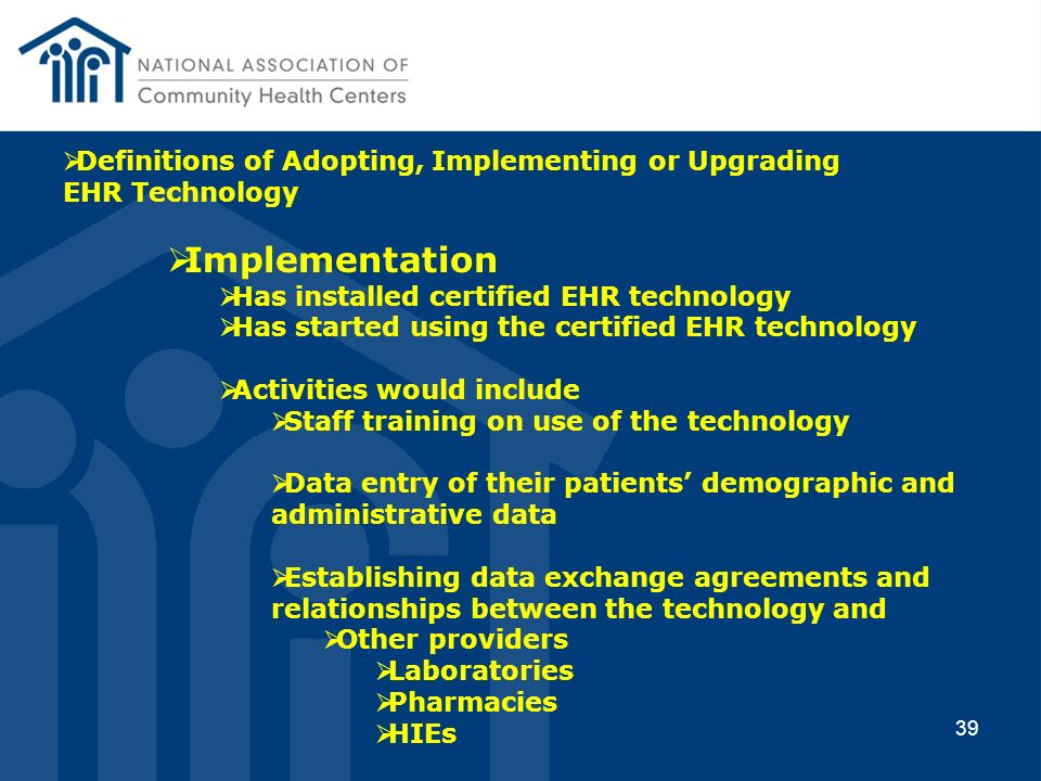 Definitions of Adopting, Implementing or Upgrading EHR Technology