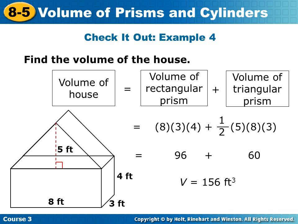 8-5 problem solving volume of prisms and cylinders