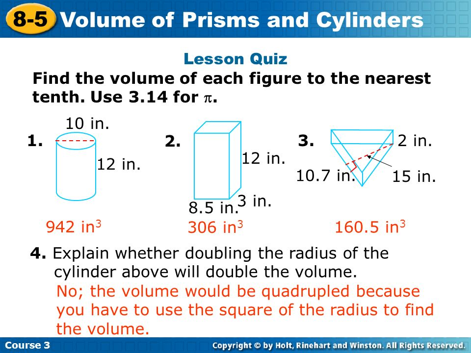 Volume of Prisms and Cylinders Insert Lesson Title Here