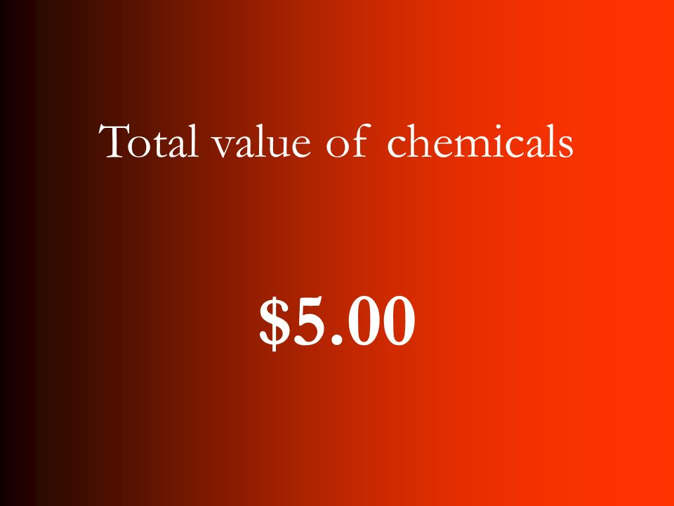 Total value of chemicals