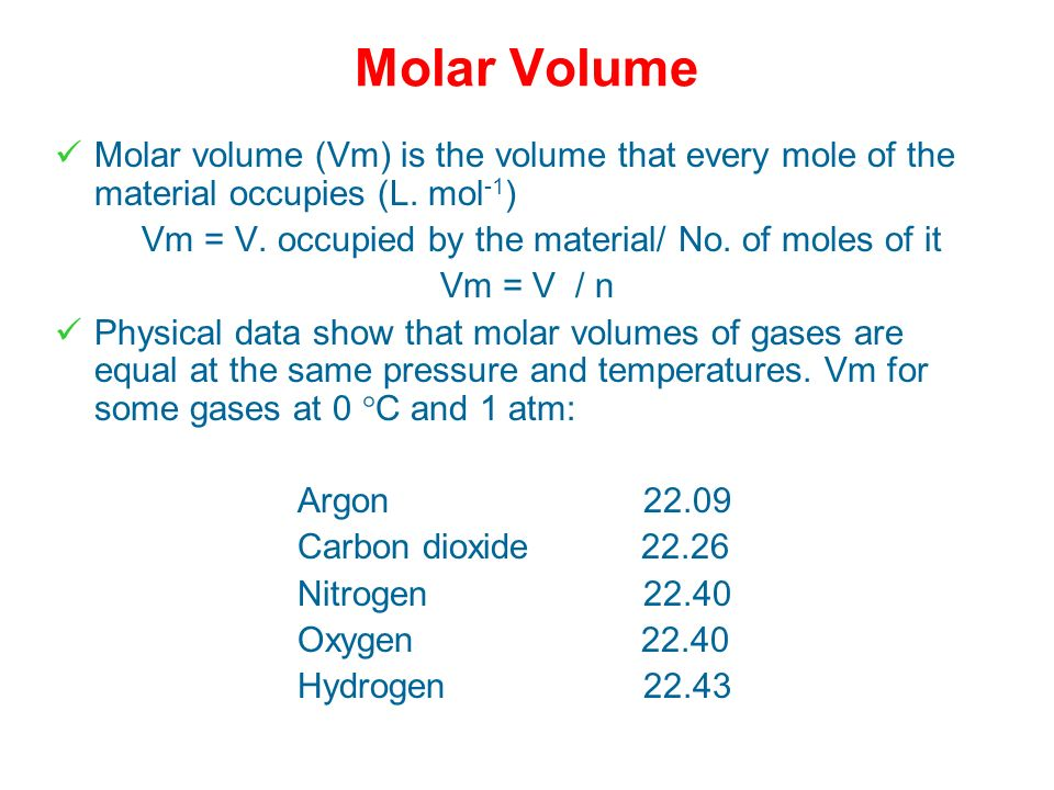 Vm = V. occupied by the material/ No. of moles of it